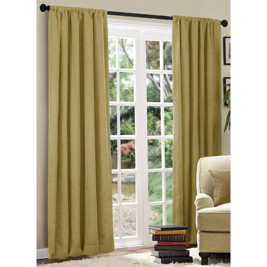 allen + roth Basketweave 84-in L Solid Camel Rod Pocket Curtain Panel