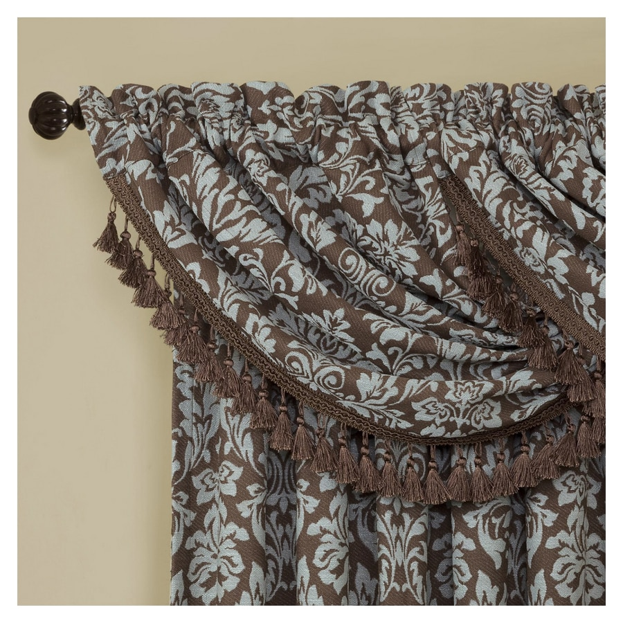 allen + roth Bristol 20-in Blue and Chocolate Polyester Rod Pocket Valance