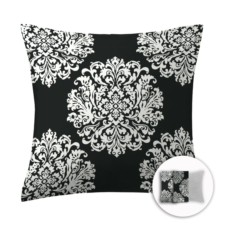 Style Selections 16-in W x 16-in L Black Square Indoor Decorative Pillow