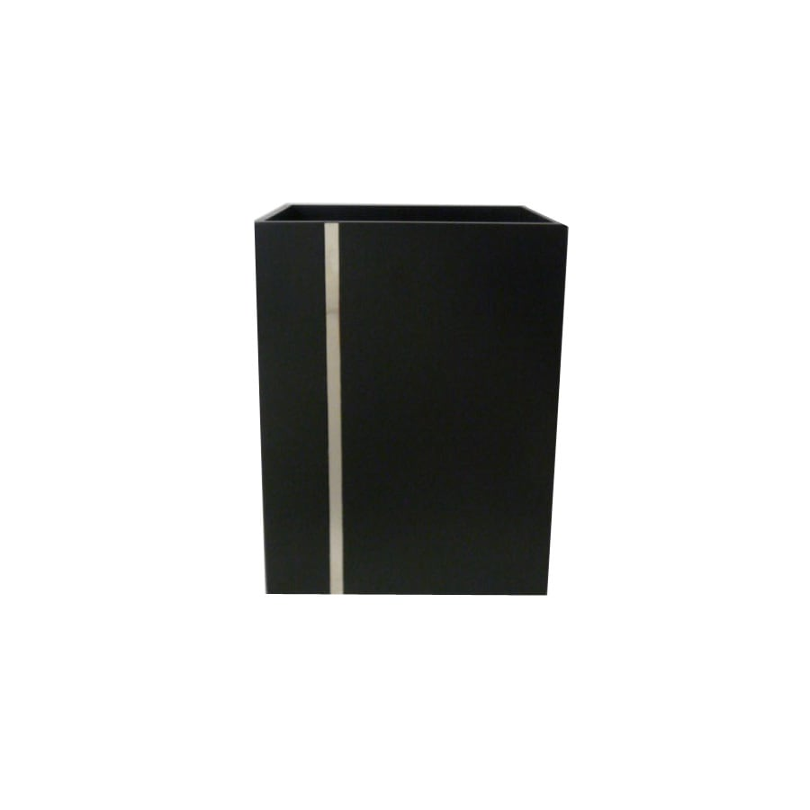 Style Selections Tegan Black with Chrome Line Metal Insert MDF with Metal Insert Wastebasket