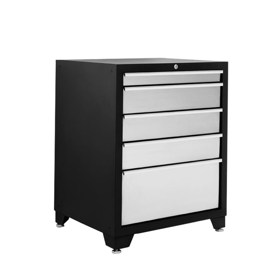 NewAge Products Pro Stainless Steel 36-in x 28-in 5-Drawer Ball-Bearing Steel Tool Cabinet (Stainless Steel)