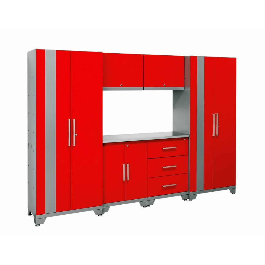 NewAge Products Performance 108-in W x 77.25-in H Matte Red Doors and a Matte Silver Frame Steel Garage Storage System