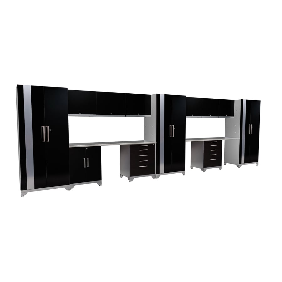 NewAge Products Performance Plus 276-in W x 85.25-in H High-Gloss Black Doors and a High-Gloss Silver Frame Steel Garage Storage System