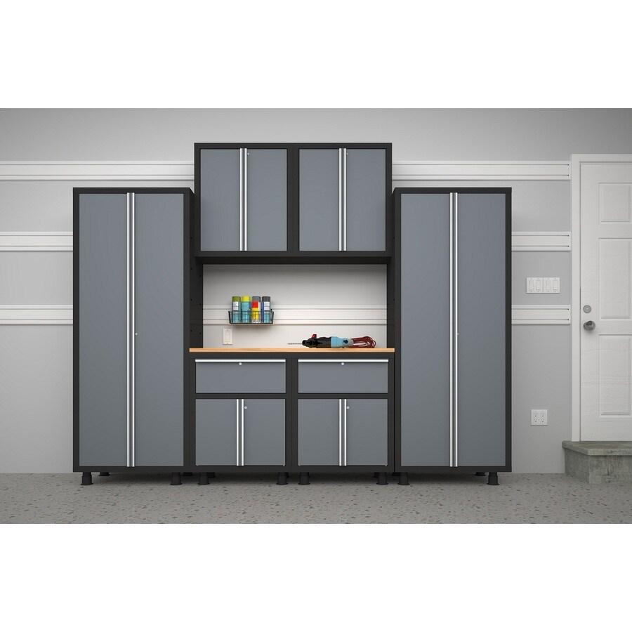 NewAge Products Bold 112-in W x 72-in H Grey/Black Steel Garage Storage System