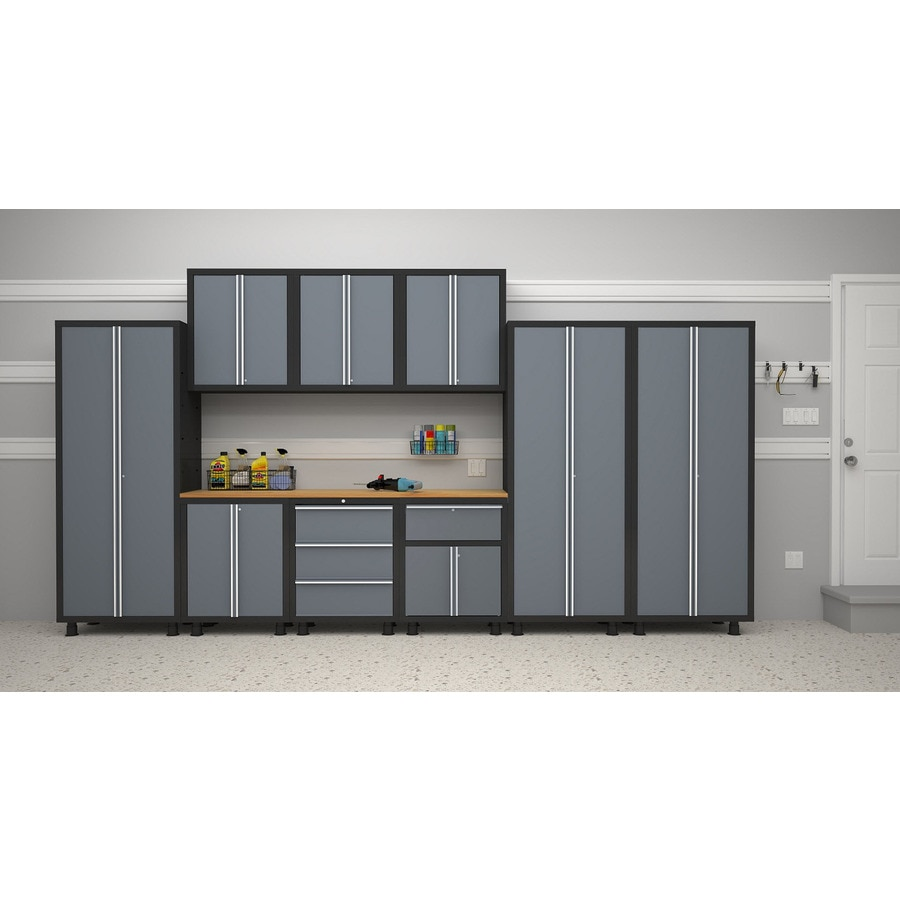 NewAge Products Bold 168-in W x 72-in H Grey/Black Steel Garage Storage System