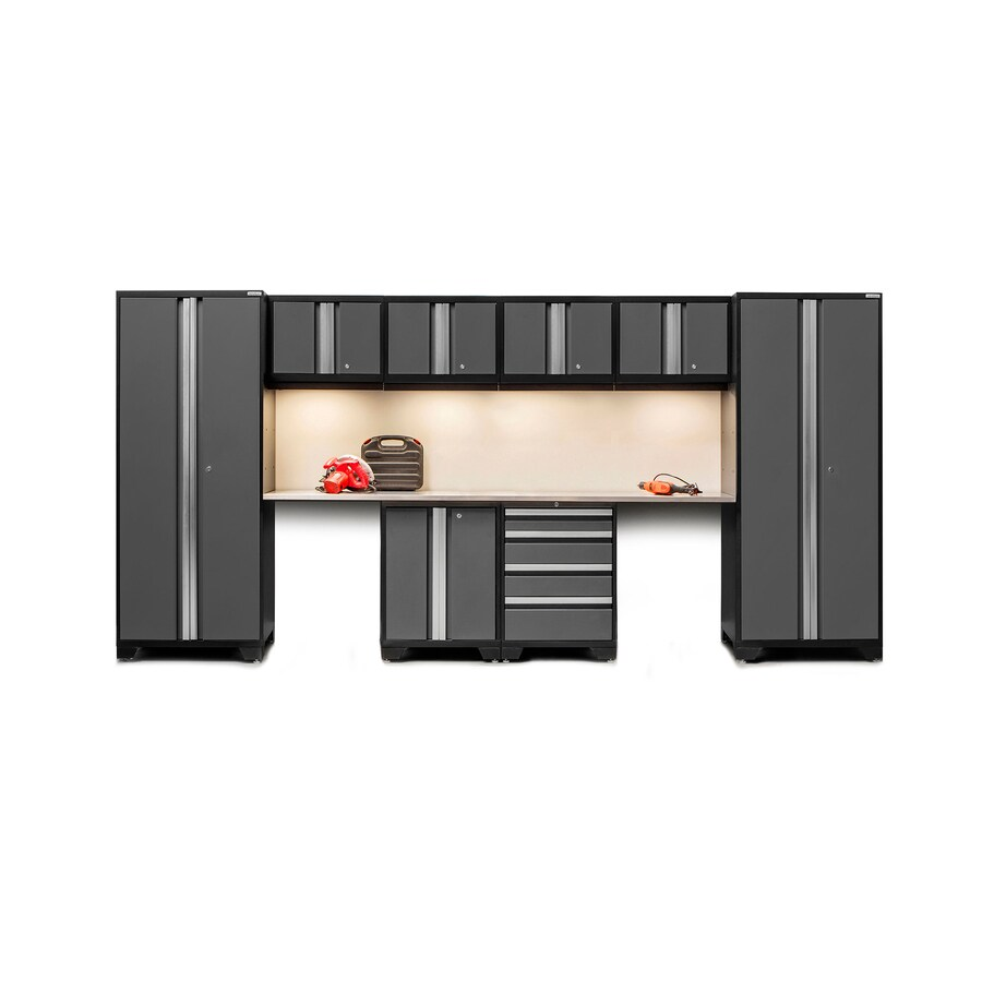 NewAge Products Bold 3.0 156-in W x 77.25-in H Jet Black Frames with Charcoal Gray Doors Steel Garage Storage System