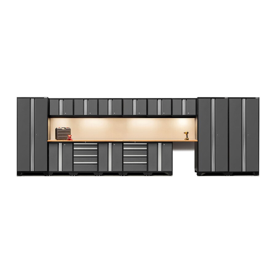 NewAge Products Bold 3.0 234-in W x 77.25-in H Jet Black Frames with Charcoal Gray Doors Steel Garage Storage System