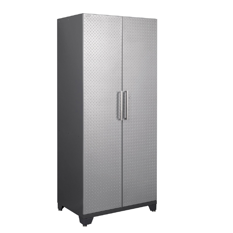 NewAge Products Performance Plus Diamond Plate 36-in W x 84-in H x 24-in D Silver Diamond Plate Doors and a Grey Frame Steel Full Storage Lockers