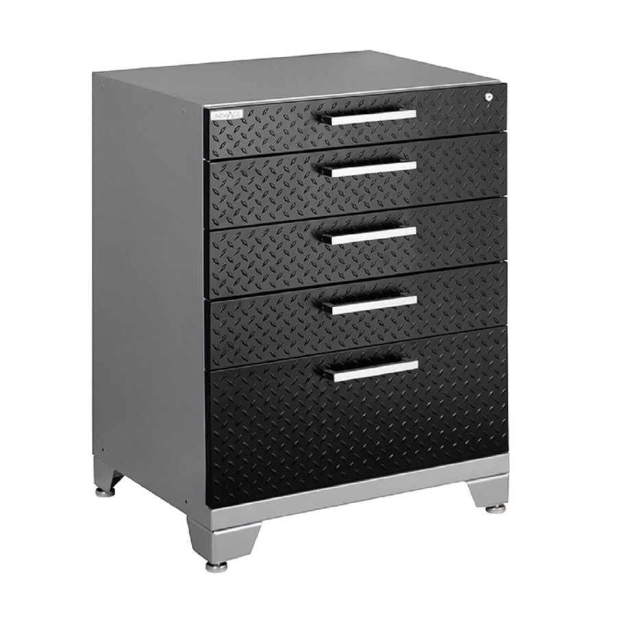 NewAge Products Performance Plus Diamond Plate 36-in x 28-in 5-Drawer Ball-Bearing Steel Tool Cabinet (Black)