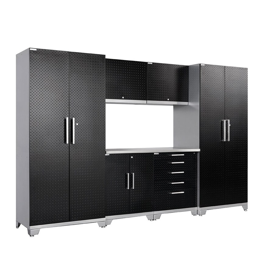 NewAge Products Performance Plus Diamond Plate 128-in W x 85.25-in H Matte Black Doors and a Silver Frame Steel Garage Storage System
