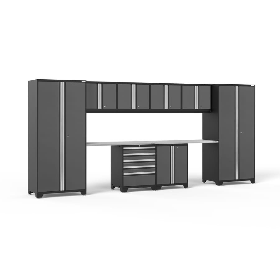 NewAge Products Pro 3.0 184-in W x 85.25-in H Jet Black Frames with Charcoal Gray Doors Steel Garage Storage System