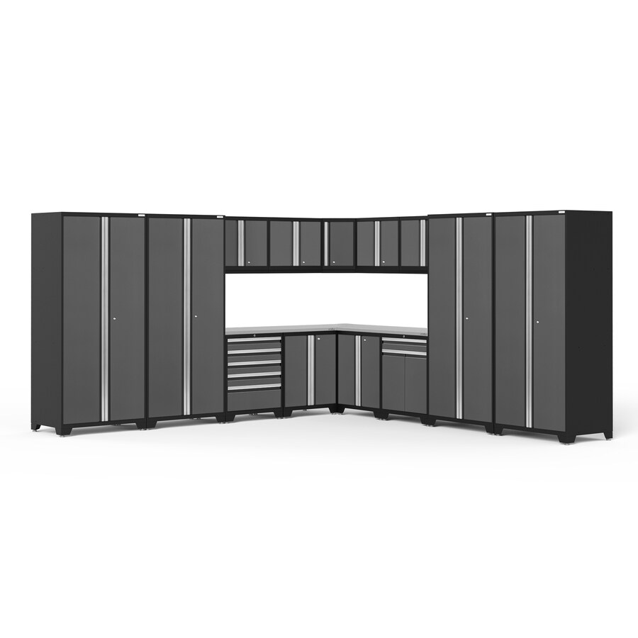 NewAge Products Pro 3.0 152-in W x 85.25-in H Jet Black Frames with Charcoal Gray Doors Steel Garage Storage System