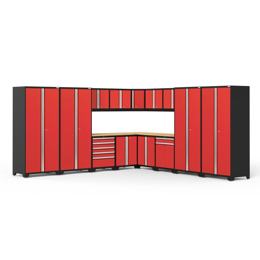 NewAge Products Pro 3.0 152-in W x 85.25-in H Jet Black Frames with Deep Red Doors Steel Garage Storage System