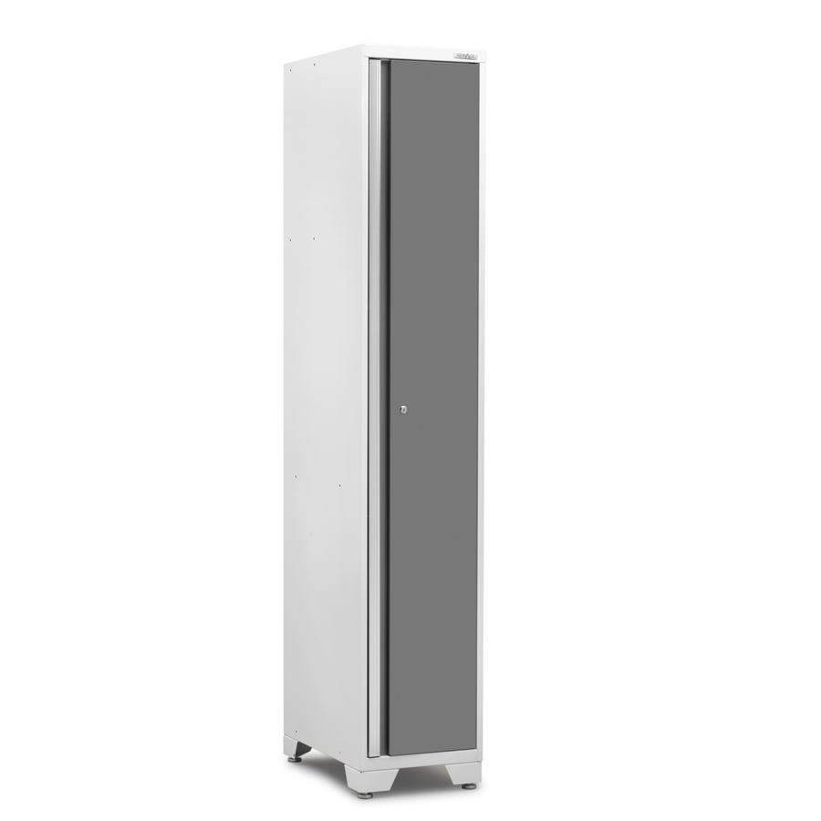 NewAge Products Pro 3.0 15-in W x 84-in H x 24-in D Bright White Frames with Platinum Gray Doors Steel Half Storage Lockers
