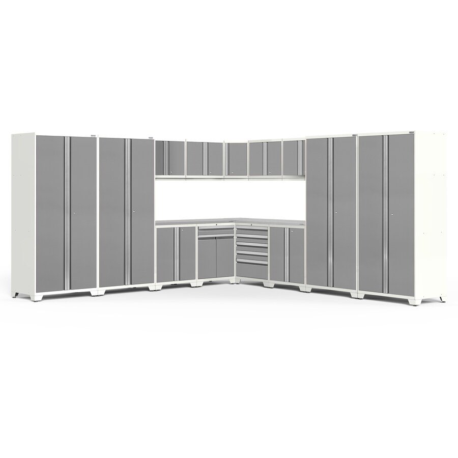 NewAge Products Pro 3.0 152-in W x 85.25-in H Bright White Frames with Platinum Gray Doors Steel Garage Storage System