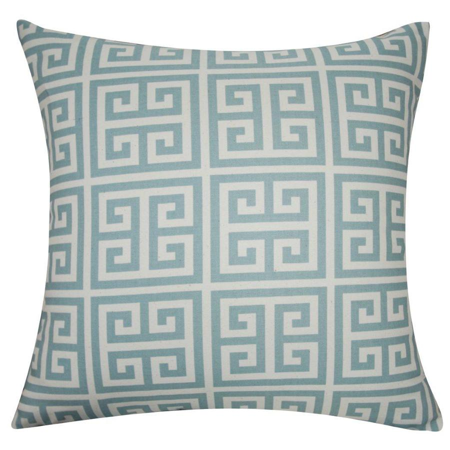 allen + roth 18-in W x 18-in L Blue/Ivory Reversible Square Indoor Decorative Pillow Cover