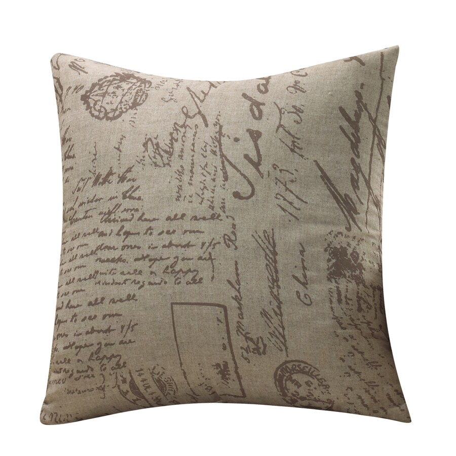 Shop allen + roth 18-in W x 18-in L Brown/Tan Square Indoor Decorative Pillow Cover at Lowes.com