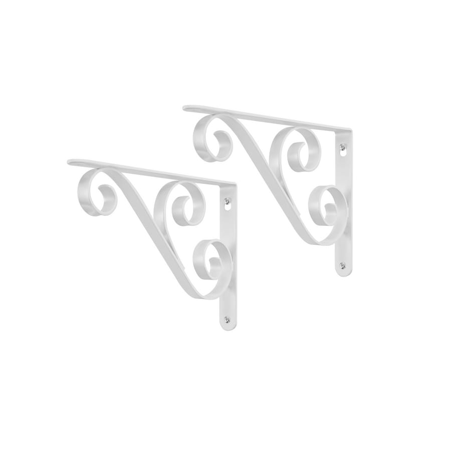 Style Selections 9-in x 6-1/2-in White Decorative Shelf Bracket