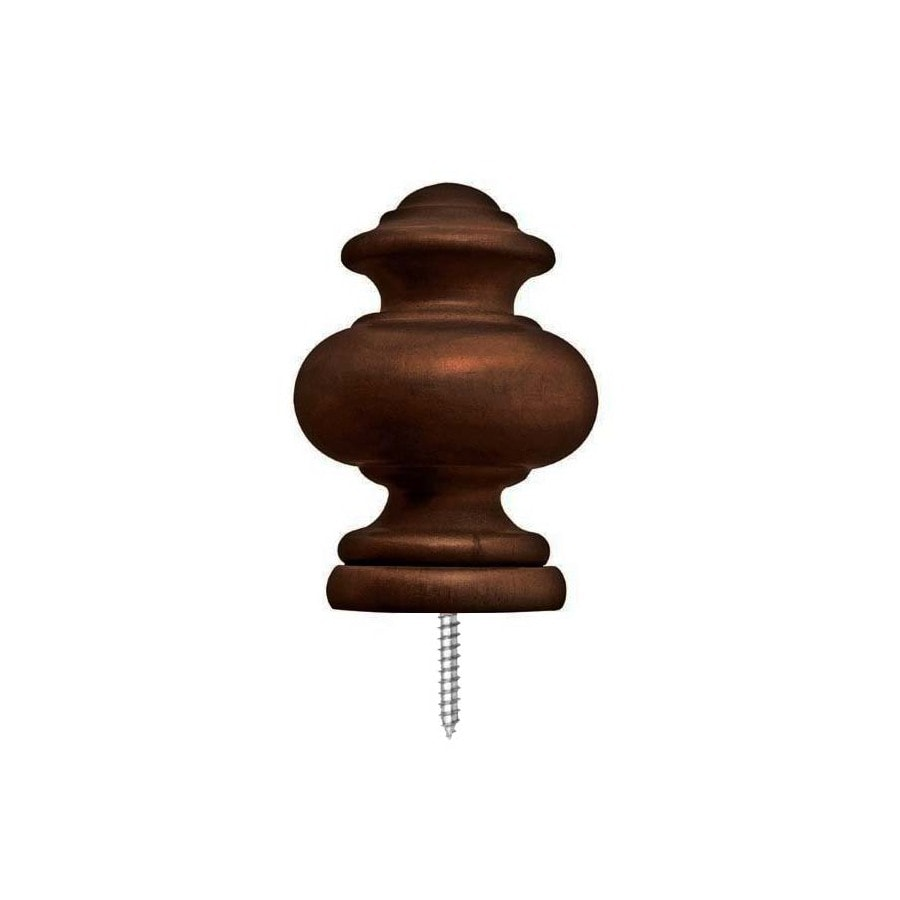 allen + roth 2-Pack Mahogany Wood Curtain Rod Finials