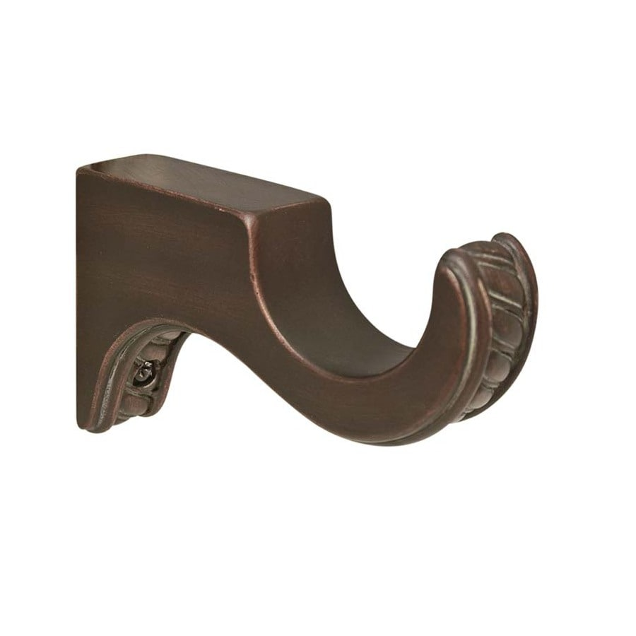 allen + roth 2-Pack Cocoa Wood Single Curtain Rod Bracket