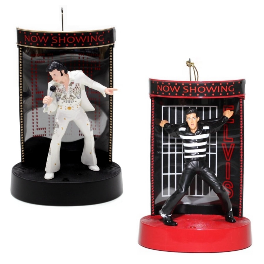 ELVIS Multi Colored Plastic Musical Elvis Ornament with Color Changing Incandescent Lights