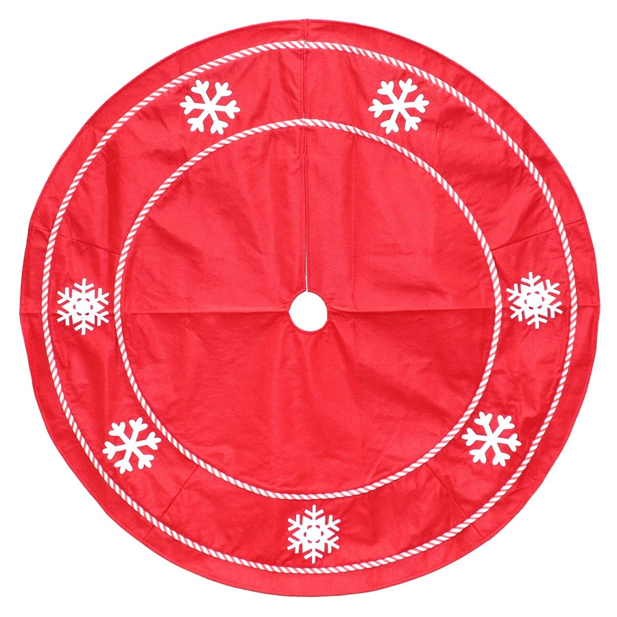 Holiday Living 48-in Red Polyester Snowflake Christmas Tree Skirt