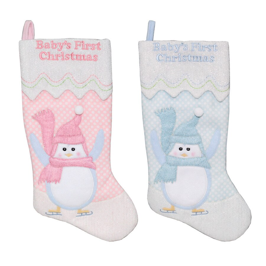 Shop holiday living 19 in baby s first christmas stocking at lowes com