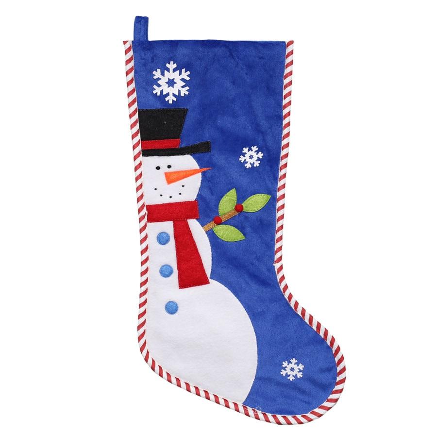 Holiday Living 21-in Blue Santa Christmas Stocking