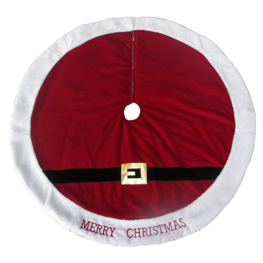 Holiday Living 48-in Red Polyester Santa Christmas Tree Skirt