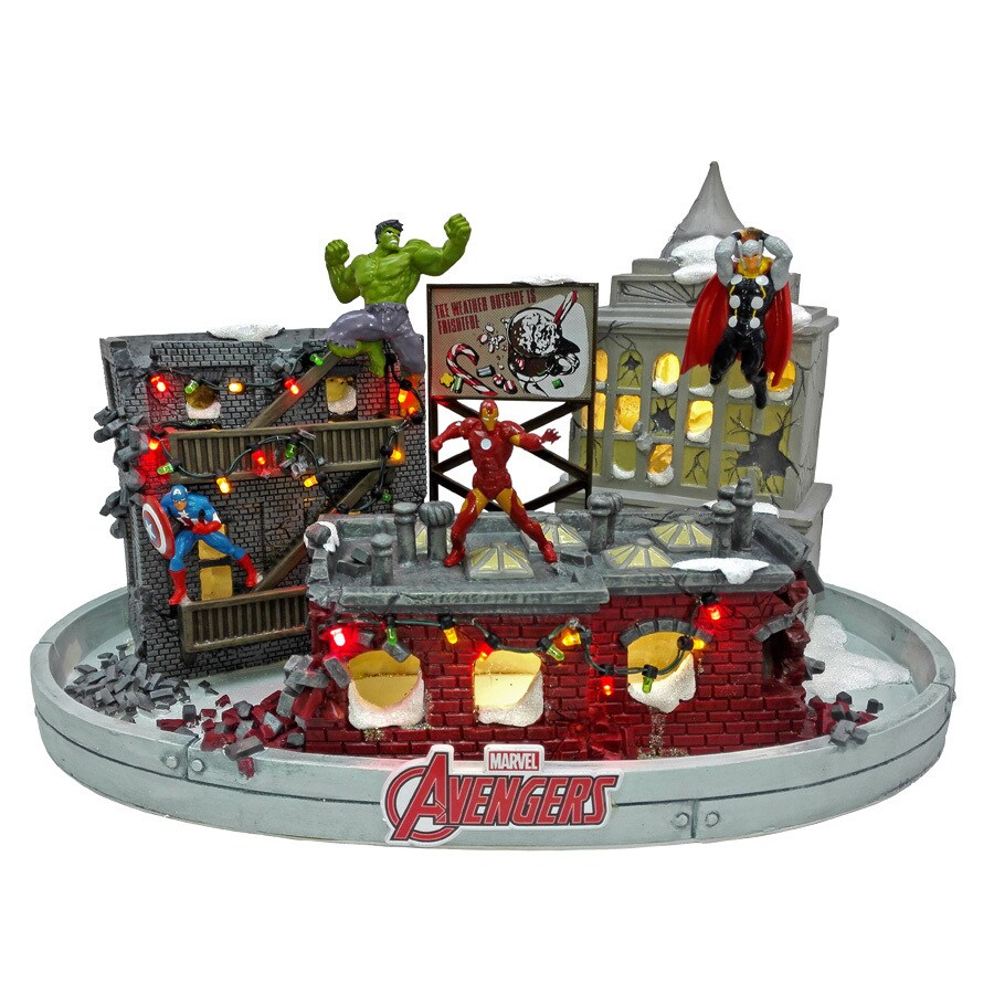 MARVEL Pre-Lit Porcelain Tabletop House with Constant Multicolor LED Lights