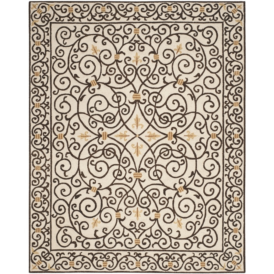 Safavieh Chelsea Ivory and Dark Brown Rectangular Indoor Hand-Hooked Area Rug (Common: 9 x 12; Actual: 105-in W x 141-in L x 0.67-ft Dia)