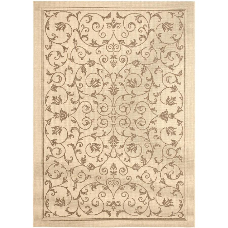 Safavieh Courtyard Natural and Brown Rectangular Indoor and Outdoor Machine-Made Area Rug (Common: 4 x 6; Actual: 48-in W x 67-in L x 0.33-ft Dia)