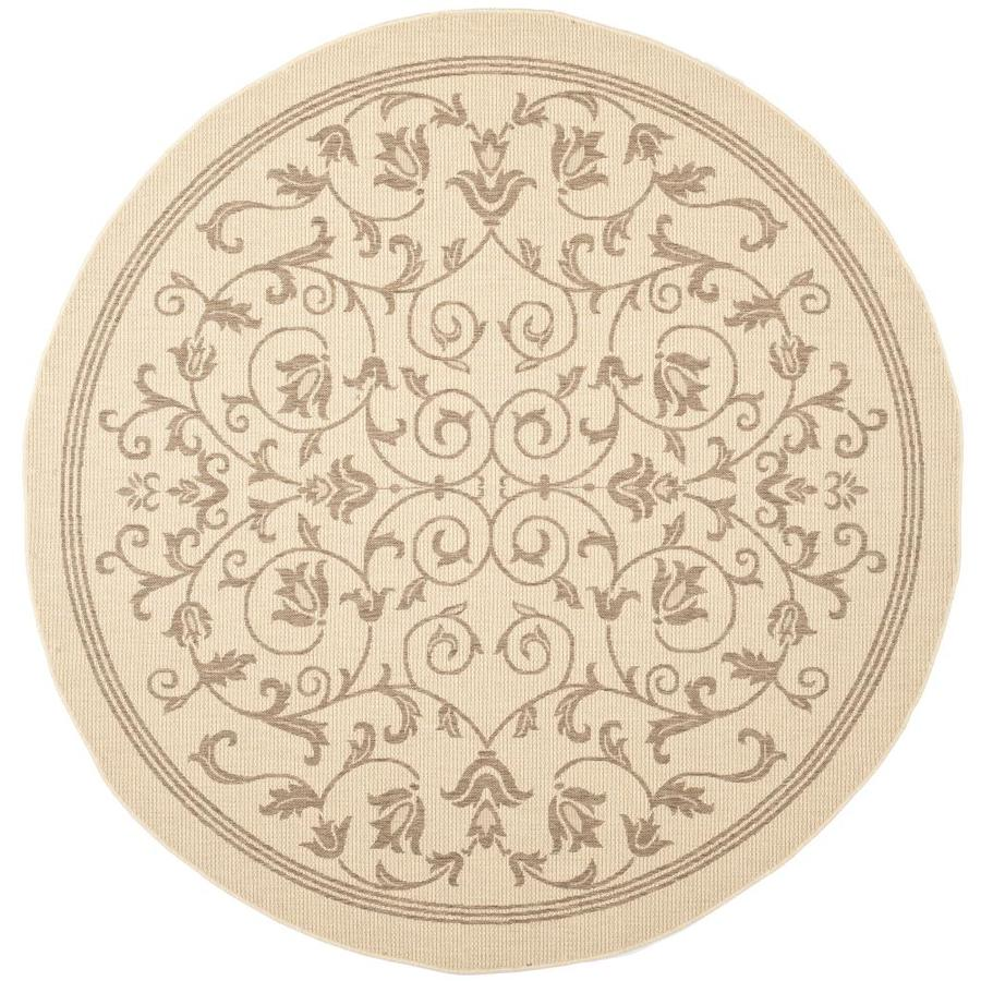 Safavieh Courtyard Natural and Brown Round Indoor and Outdoor Machine-Made Area Rug (Common: 7 x 7; Actual: 79-in W x 79-in L x 0.42-ft Dia)