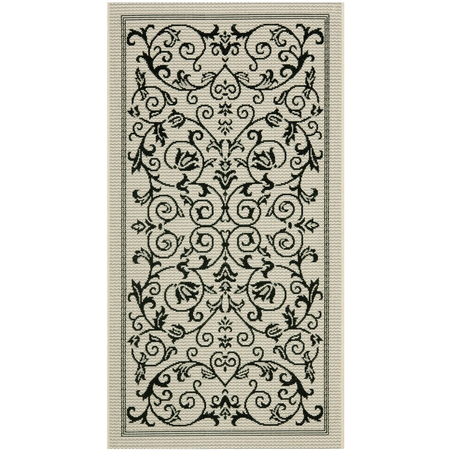 Safavieh Courtyard Sand and Black Rectangular Indoor and Outdoor Machine-Made Throw Rug (Common: 3 x 5; Actual: 31-in W x 60-in L x 0.33-ft Dia)