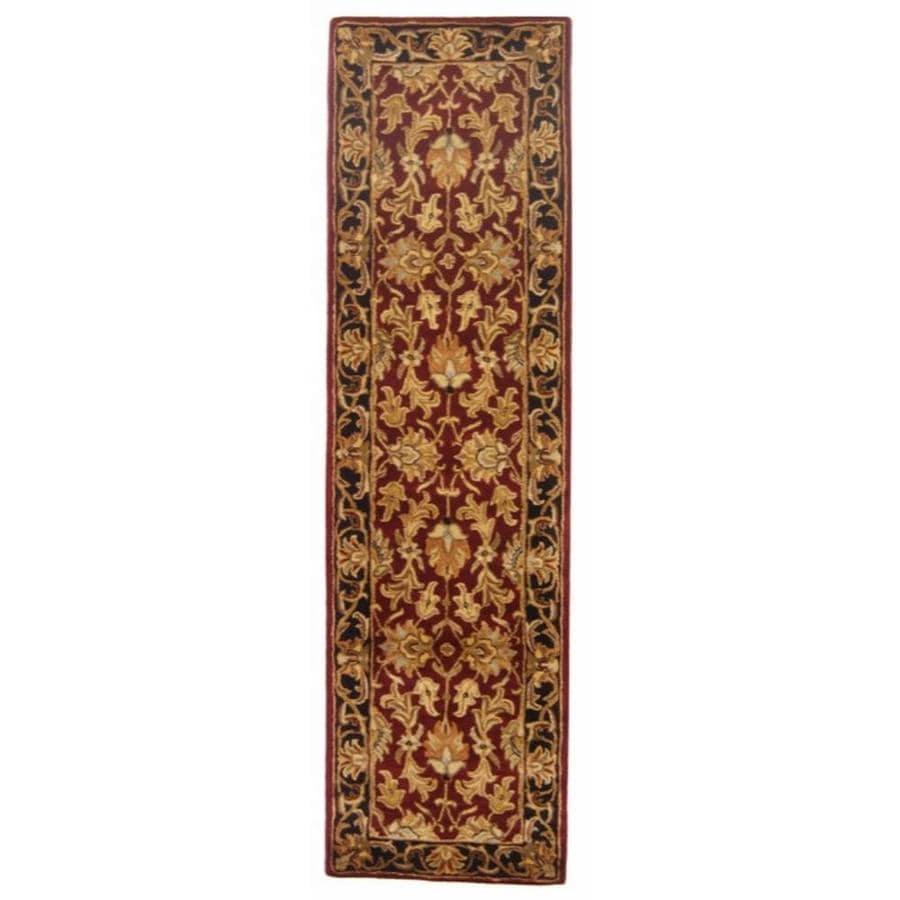 Safavieh Heritage Red and Black Rectangular Indoor Tufted Runner (Common: 2 x 10; Actual: 27-in W x 120-in L x 0.58-ft Dia)