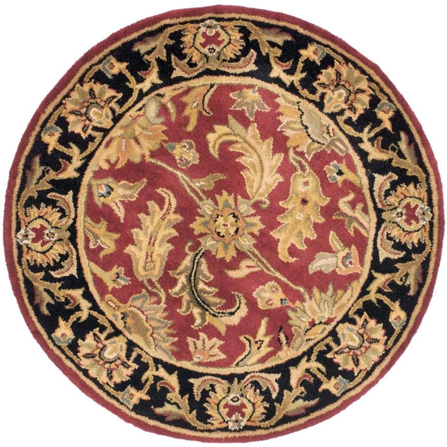 Safavieh Heritage Red and Black Round Indoor Tufted Area Rug (Common: 4 x 4; Actual: 42-in W x 42-in L x 0.33-ft Dia)