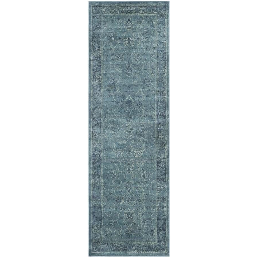 Safavieh Vintage Navy and Creme Rectangular Indoor Woven Runner (Common: 2 x 6; Actual: 26-in W x 72-in L x 0.33-ft Dia)