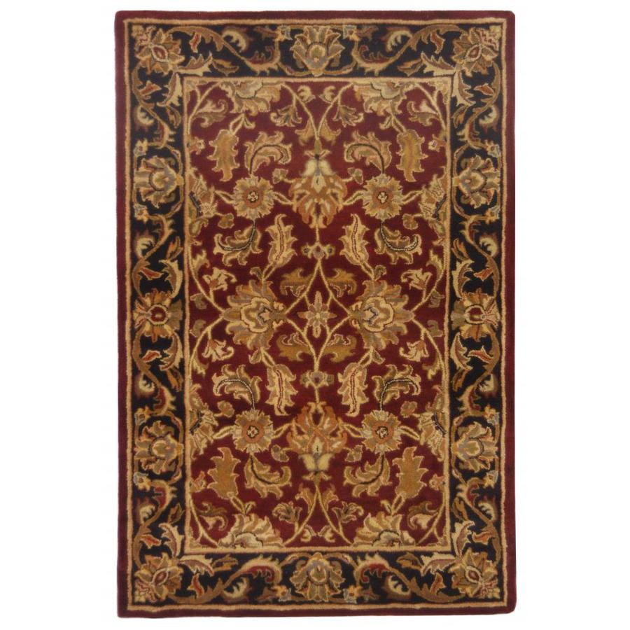Safavieh Heritage Red and Black Rectangular Indoor Tufted Throw Rug (Common: 2 x 4; Actual: 27-in W x 48-in L x 0.42-ft Dia)