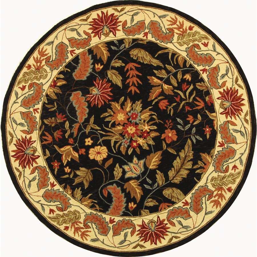 Safavieh Chelsea Black Round Indoor Hand-Hooked Area Rug (Common: 6 x 6; Actual: 66-in W x 66-in L x 0.42-ft Dia)