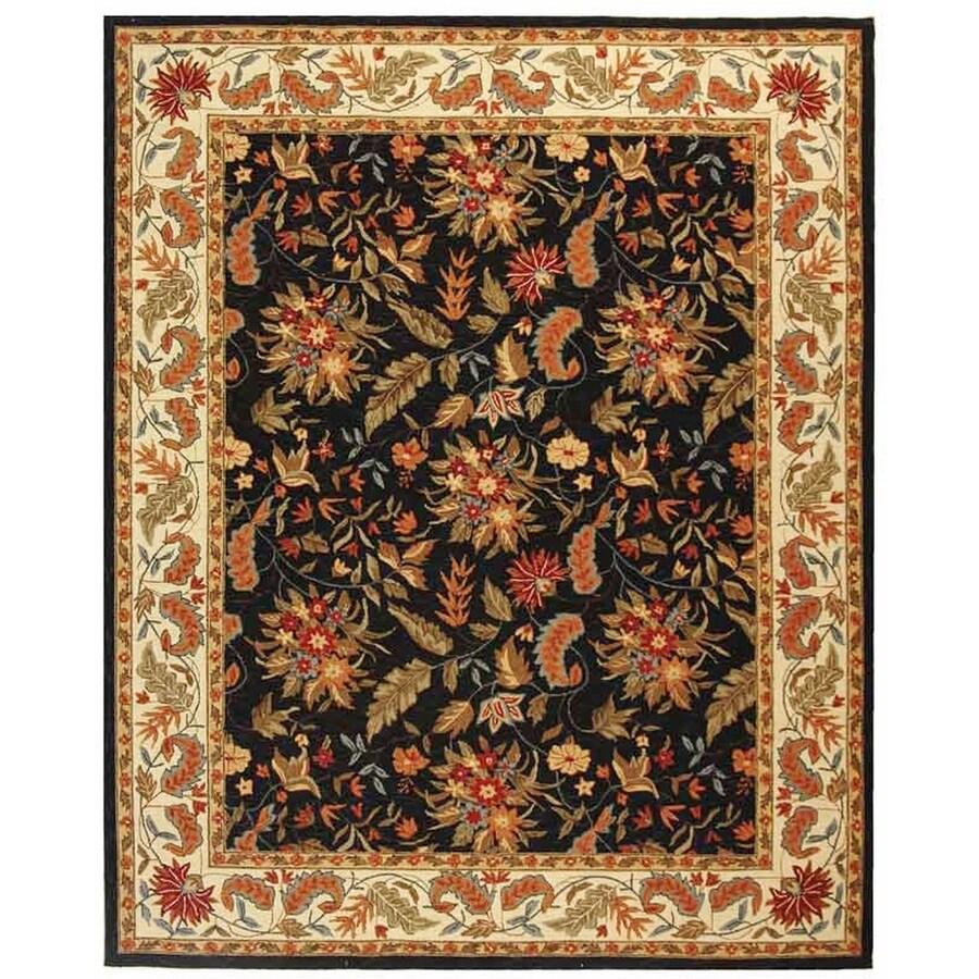 Safavieh Chelsea Black Rectangular Indoor Hand-Hooked Area Rug (Common: 8 x 10; Actual: 90-in W x 117-in L x 0.67-ft Dia)