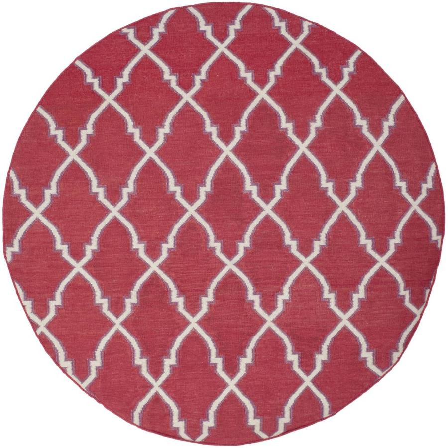 Safavieh Dhurries Red and Ivory Round Indoor Woven Area Rug (Common: 6 x 6; Actual: 72-in W x 72-in L x 0.42-ft Dia)