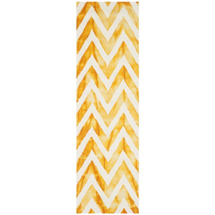 Safavieh Dip Dye Ivory and Gold Rectangular Indoor Tufted Runner (Common: 2 x 8; Actual: 27-in W x 96-in L x 0.58-ft Dia)
