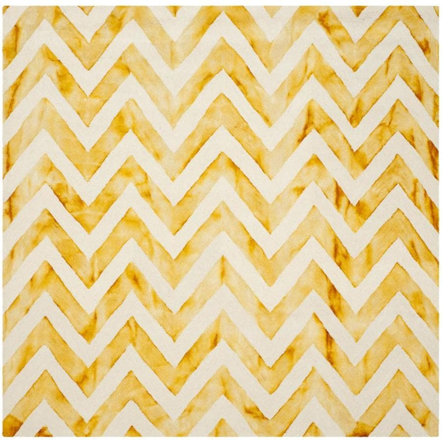 Safavieh Dip Dye Ivory and Gold Square Indoor Tufted Area Rug (Common: 7 x 7; Actual: 84-in W x 84-in L x 0.58-ft Dia)