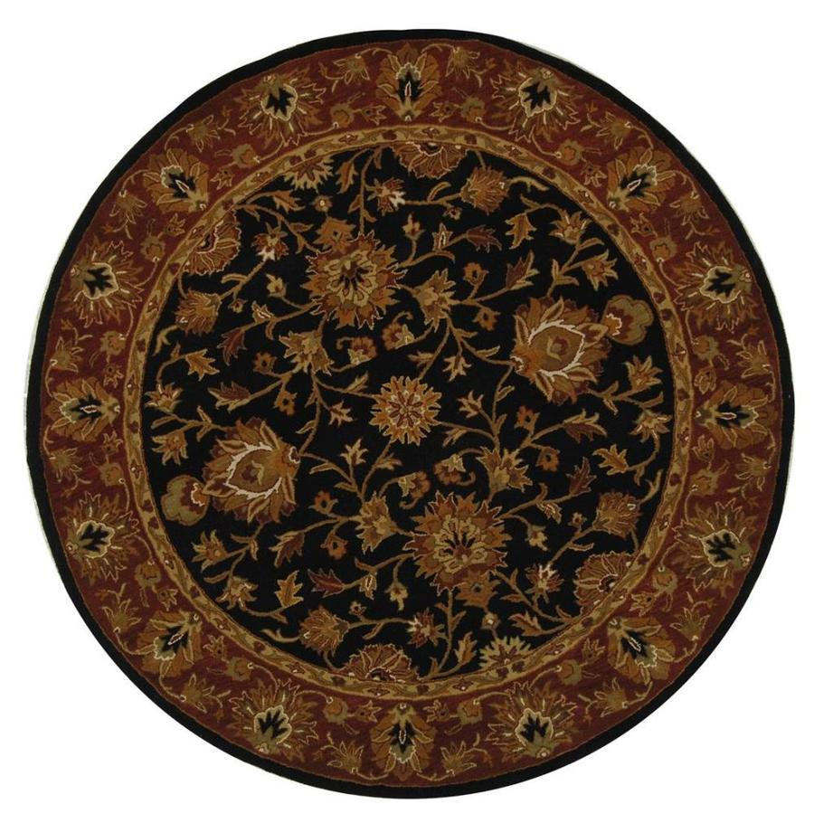 Safavieh Heritage Black and Red Round Indoor Tufted Area Rug (Common: 6 x 6; Actual: 72-in W x 72-in L x 0.42-ft Dia)