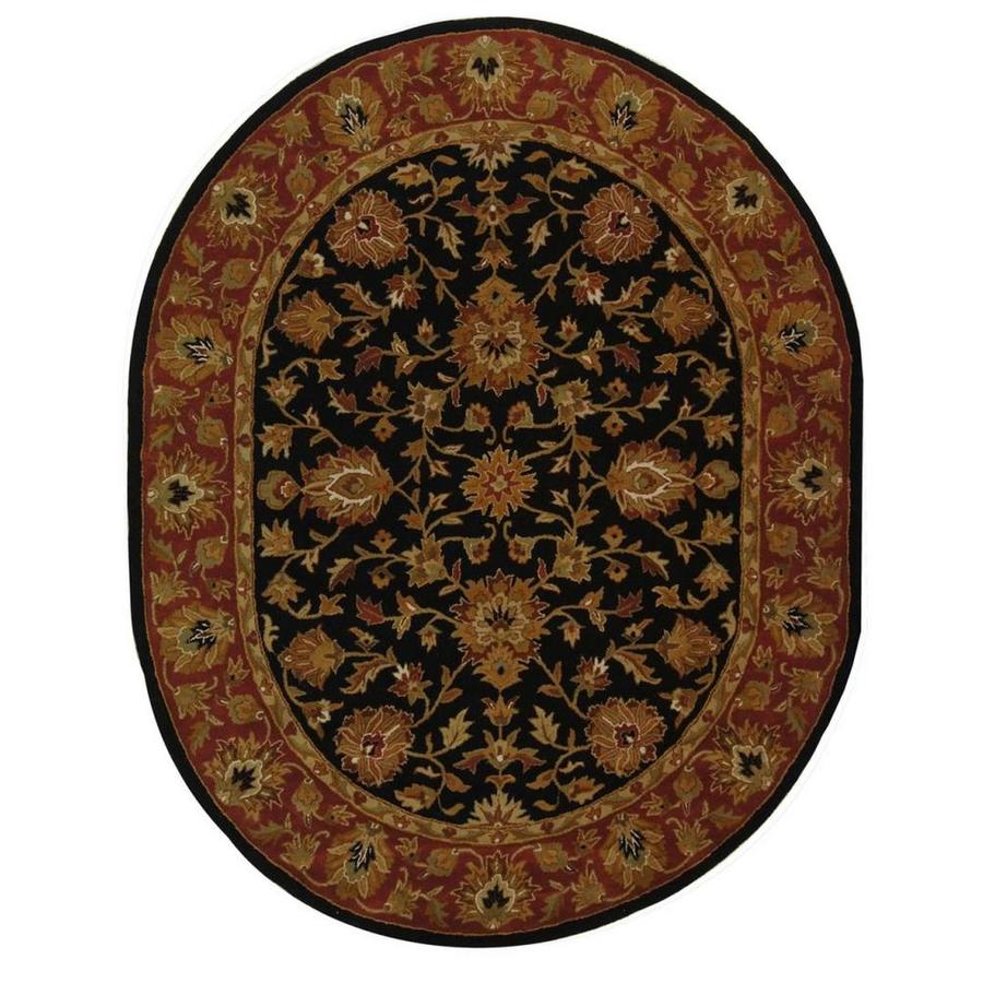Safavieh Heritage Black and Red Oval Indoor Tufted Area Rug (Common: 5 x 5; Actual: 54-in W x 78-in L x 0.5-ft Dia)