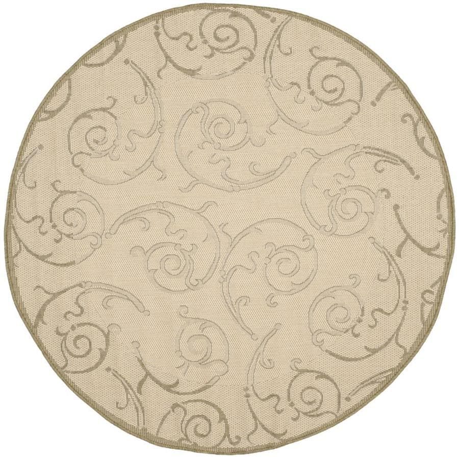 Safavieh Courtyard Natural and Olive Round Indoor and Outdoor Machine-Made Area Rug (Common: 5 x 5; Actual: 63-in W x 63-in L x 0.33-ft Dia)