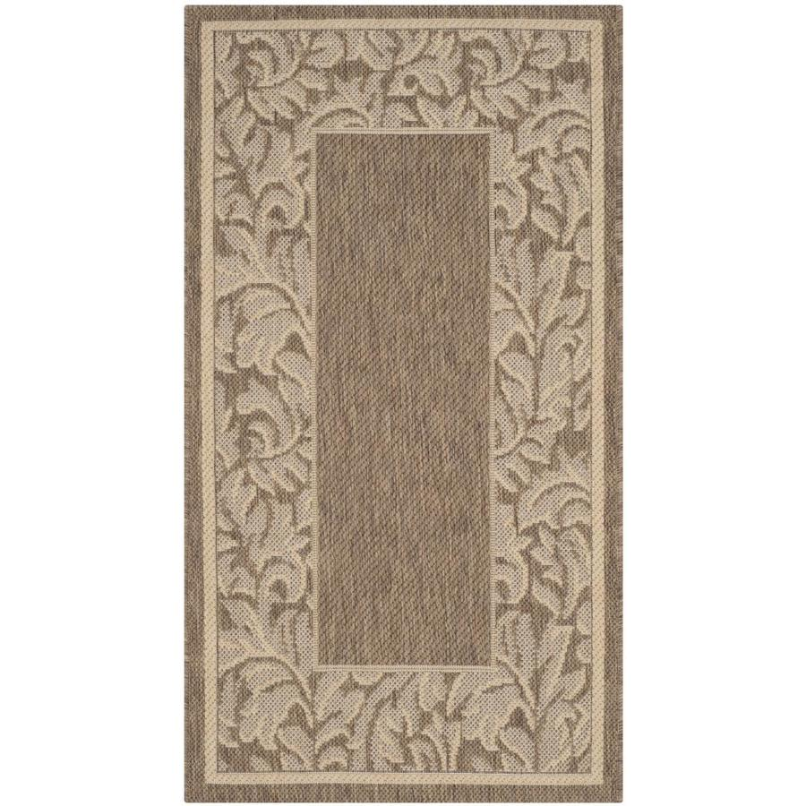 Safavieh Courtyard Brown and Natural Rectangular Indoor and Outdoor Machine-Made Throw Rug (Common: 3 x 5; Actual: 31-in W x 60-in L x 0.33-ft Dia)