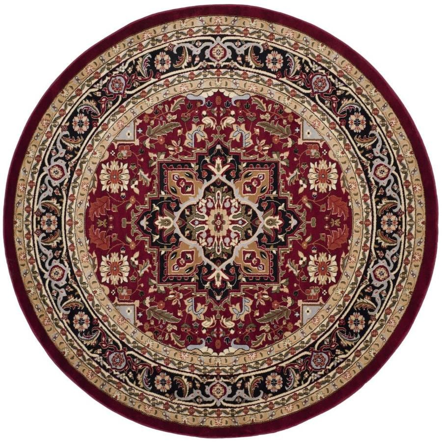 Safavieh Lyndhurst Red and Black Round Indoor Machine-Made Area Rug (Common: 8 x 8; Actual: 96-in W x 96-in L x 0.5-ft Dia)