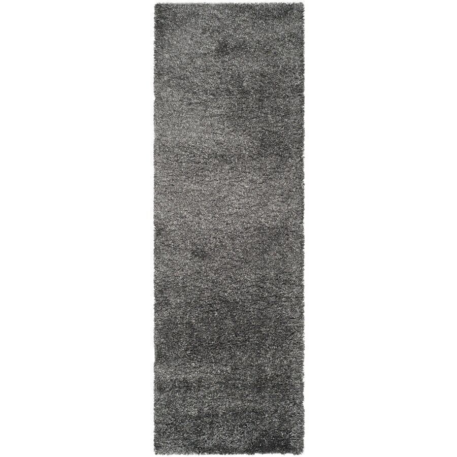 Safavieh California Shag Dark Grey Rectangular Indoor Machine-Made Runner (Common: 2 x 14; Actual: 27-in W x 180-in L x 1.08-ft Dia)