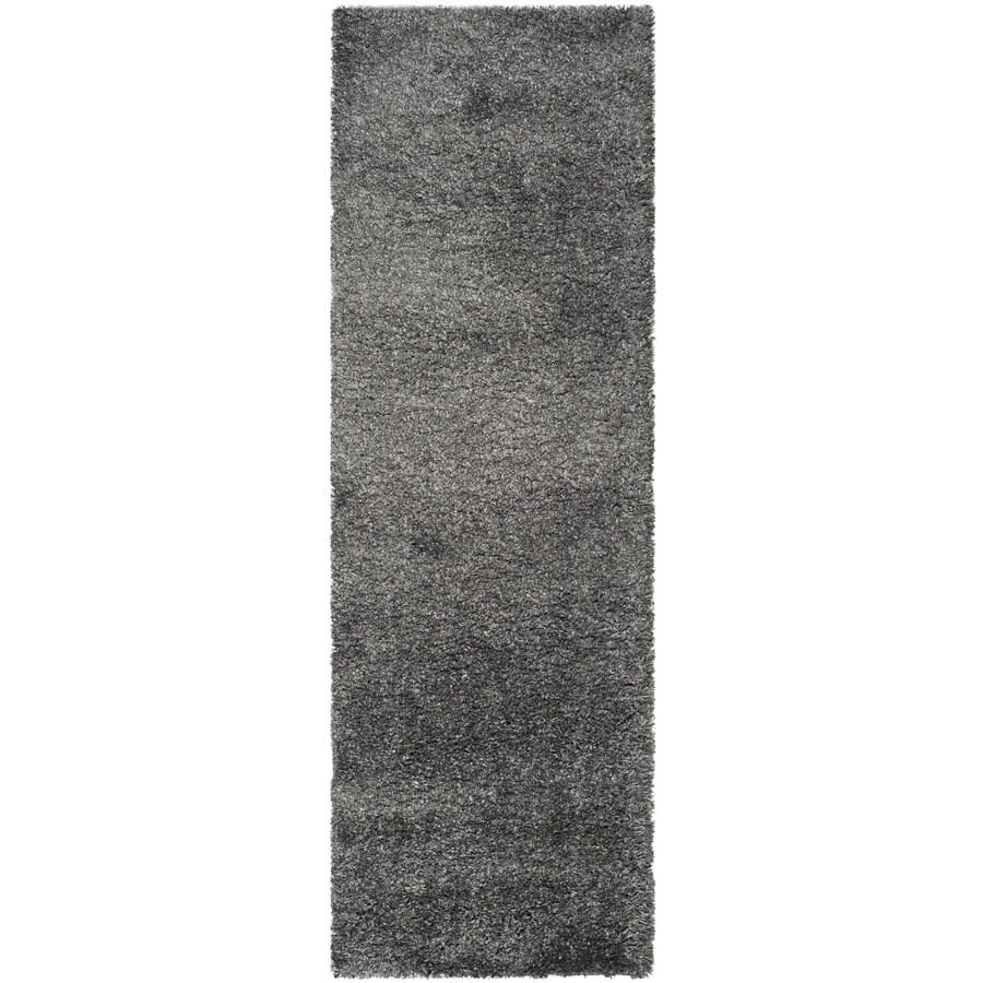 Safavieh California Shag Dark Grey Rectangular Indoor Machine-Made Runner (Common: 2 x 20; Actual: 27-in W x 252-in L x 1.5-ft Dia)